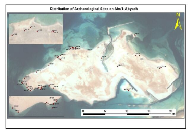 Map of distribution of archaeological sites on Abu Al-Abyadh (Source: ADIAS)