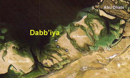 Location of archaeological sites on the Dabb'iya peninsula (Source: ADIAS)