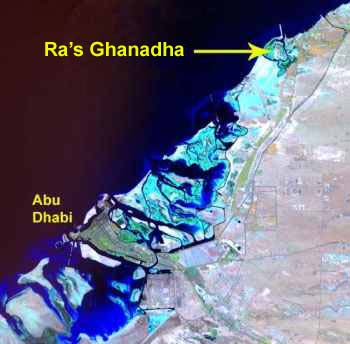Satellite image of Ra's Ghanadha and vicinity (Source: ADIAS)