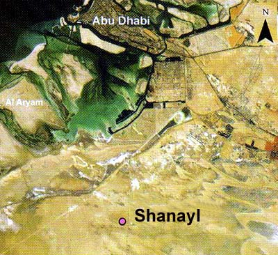 Map showing the location of the archaeological site at Shanayl (Source: ADIAS)