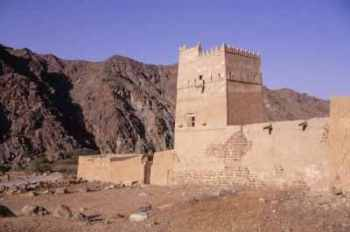 View of the tower at the summer palace of Sheikh Abdullah bin Hamdan al-Sharqi, Wadi Hayl, Fujairah (Photograph by Dr Mark Beech)